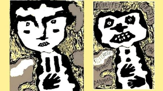 Jim Pavlidis's representation of Scott Pendlebury (left) in the style of Brut Art and (right) one of Jean Dubuffet's ...