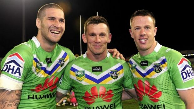 Former Raiders players Joel Thompson, Shaun Berrigan and Sam Williams in 2013. Williams is likely to return but Thompson ...