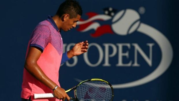 Nick Kyrgios during his second-round match against Andreas Seppi.