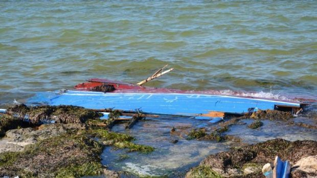 The remains of a boat carrying illegal immigrants that sank off the shores of south-east Tunisia.
