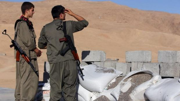 PKK Kurdistan Workers Party soldiers near Makhmour, two hours north of Amerli.