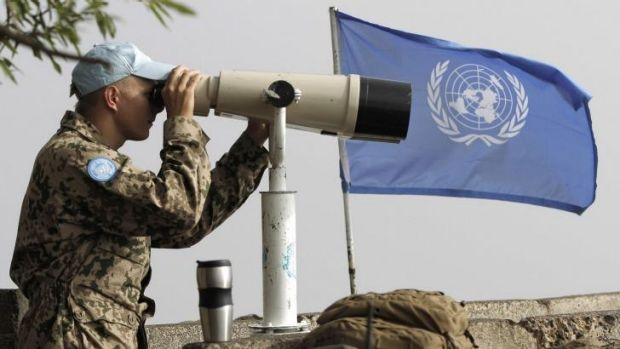 A European member of the UN peacekeeping force on the Golan Heights.