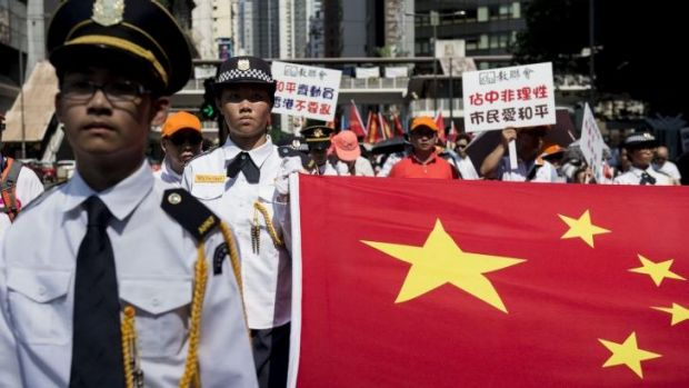 A pro-Beijing counter-demonstration in Hong Kong on August 17.