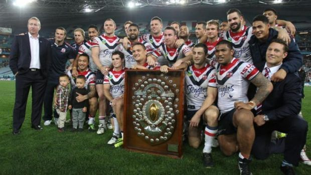 The Sydney Roosters celebrate the minor premiership in 2013.