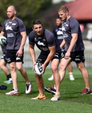 Sam Burgess took a physical pounding against the Bulldogs.
