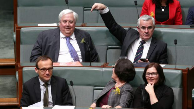 Clive Palmer and Andrew Wilkie ready for a division in the House of Representatives.
