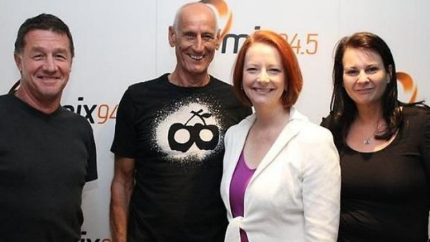 Fred Botica with his old 94.5 colleagues and ex-PM Julia Gillard.