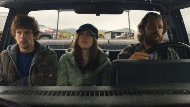 Killers on the road: Jesse Eisenberg, Dakota Fanning and Peter Sarsgaard in the film Night Moves.