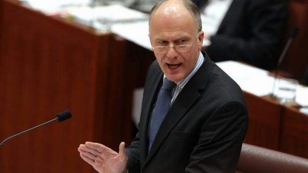 Leader of the Government in the Senate, Senator Eric Abetz during Senate Question Time at Parliament House.