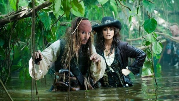 Johnny Depp and Penelope Cruz in <i>Pirates of the Caribbean: On Stranger Tides</i>. The film cost $US250 million to ...