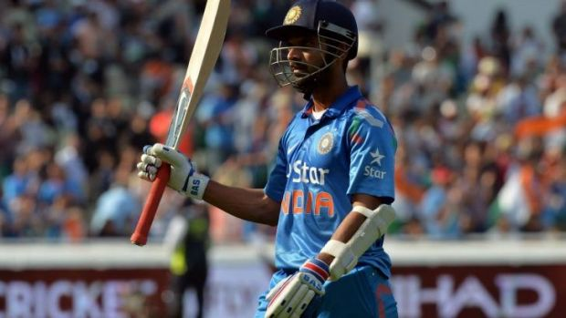 Ajinkya Rahane leaves the field after being dismissed for 106.
