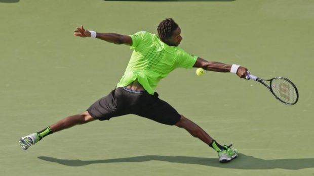 Monfils stretches for success.