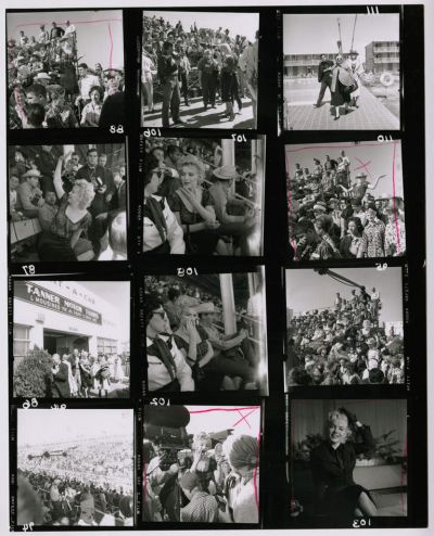 Marilyn Monroe in a contact sheet for Bus Stop.