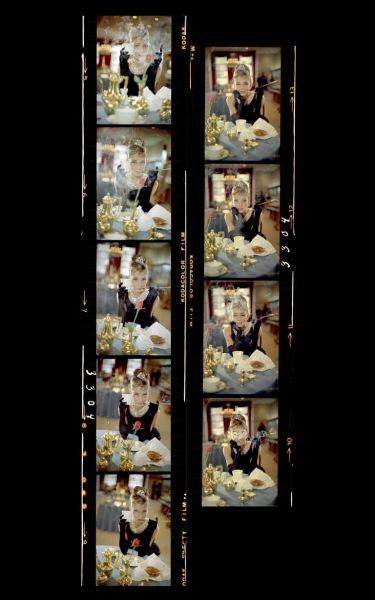 Audrey Hepburn in a contact sheet for Breakfast at Tiffany's.