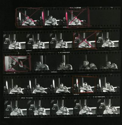 James Stewart and Grace Kelly in a contact sheet for Rear Window.