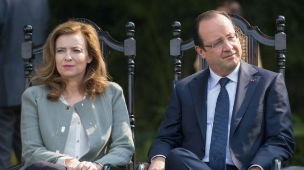 France's President Francois Hollande and his then partner Valerie Trierweiler in New Delhi last year.