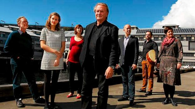 Danish composer and conductor Bo Holten with Song Company members  Clive Birch, Hannah Fraser, Susannah Lawergren, Mark ...
