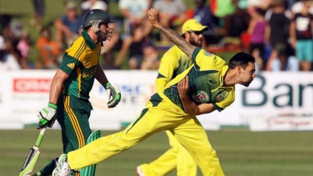 Mitchell Johnson  bowling against South Africa.