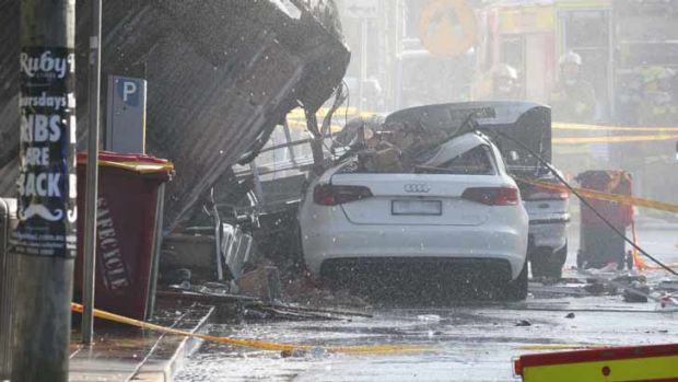 Cars were destroyed by the blast.
