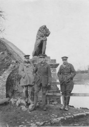 Officers Benson, Hartigan and Jackson of the 9th Lancers at the Menin Gate, February 1915.