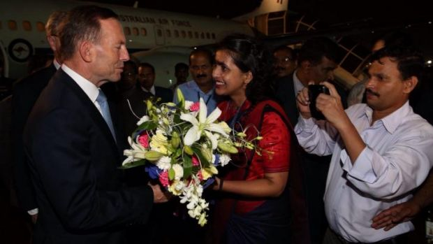 Prime Minister Tony Abbott arrives in Mumbai.