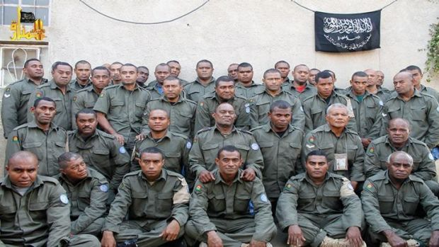 A photograph from a militant-linked website shows Fijian UN peacekeepers being held by Islamist militants in ...