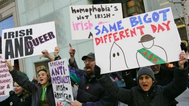 Protesters in Fifth Avenue in 2006 rally against the exclusion of Irish and Irish-American gays from marching in the ...