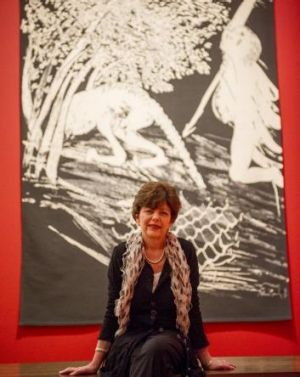 Curator Deborah Hart with one of the Arthur Boyd works on display at the NGA.