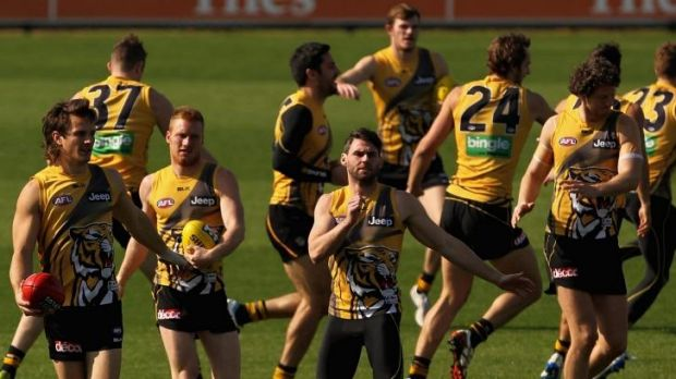 Richmond players at training this week ahead of their elimination final in Adelaide.