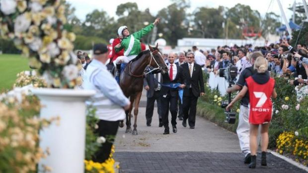 Off and racing: James McDonald celebrates victory in this year's Golden Slipper on Mossfun. Channel Seven is expanding ...