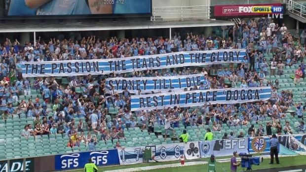 Tribute: Sydney FC fans honour William ''DoggaDog'' Duran.