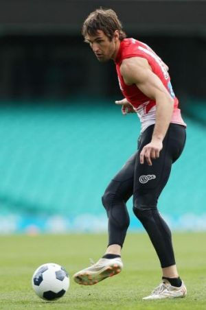 Josh Kennedy tries his hand at a different kind of football at the SCG on Thursday.