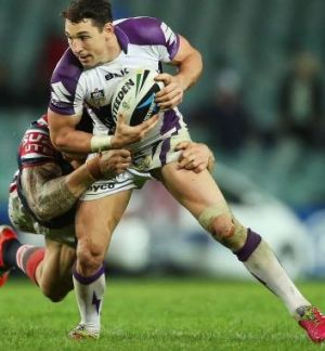 Focusing on victory: Melbourne No.1 Billy Slater.
