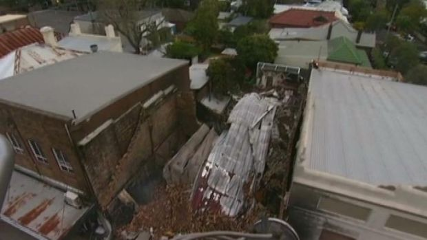 The scene of the blast in Rozelle.