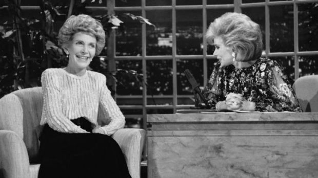 Joan Rivers interviews Nancy Reagan on her talk show in 1986.