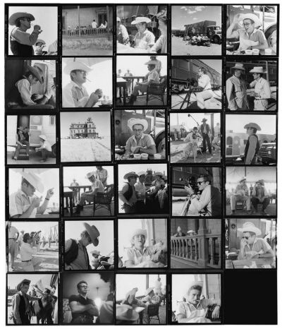 James Dean in a contact sheet for Giant.