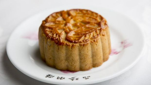 A mooncake used in the mid-autumn festival.