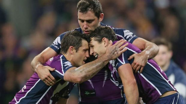 Rise to the challenge: The Storm's Cameron Smith, Cooper Cronk and Billy Slater will need to be at their best to ...
