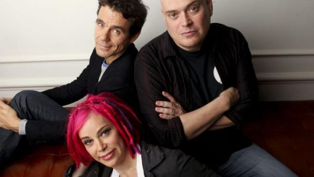 Stronger: Lana Wachowski with Tom Twyker and brother Andy Wachowski.