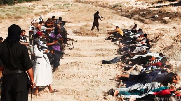 Terror scourge: an image posted on a militant website on June 14, 2014, appears to show ISIL forces killing captured ...