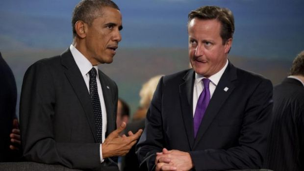 US President Barack Obama (left) and British Prime Minister David Cameron at the NATO summit.
