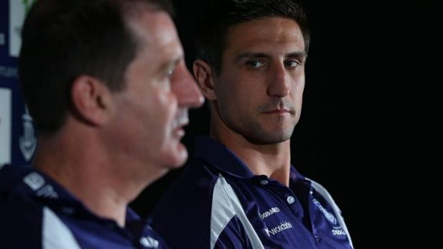 On a mission: Ross Lyon and Matthew Pavlich of the Dockers.