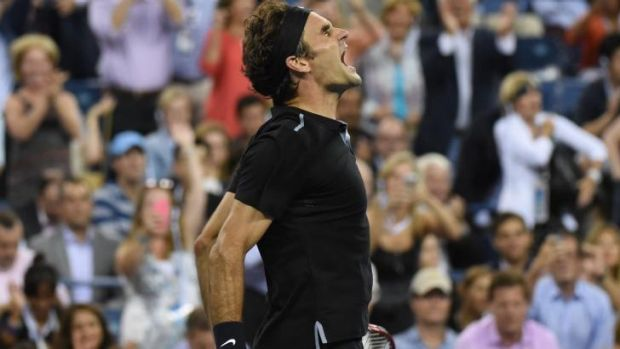 Sheer joy: Roger Federer celebrates after beating Frenchman Gael Monfils at the US Open.