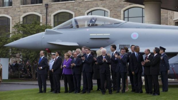 NATO leaders watch a flypast at the NATO summit in Newport, Wales on Friday.