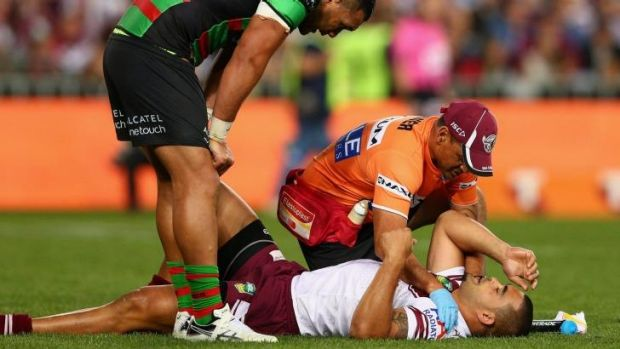 Fa'aoso receiving attention after suffering his knock against the Rabbitohs last year.