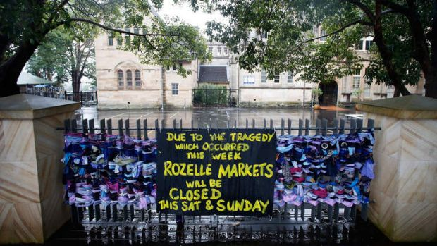 A sign indicating that Rozelle Markets will be closed this weekend due to the explosion in Rozelle.