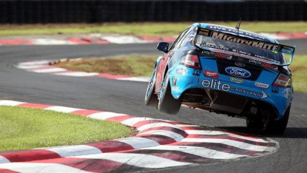 Mark Winterbottom during race 11 which is round four of the V8 Super Championship Series at Pukekohe Park Raceway in ...