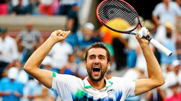 Too powerful: Marin Cilic of Croatia celebrates after defeating Roger Federer of Switzerland.