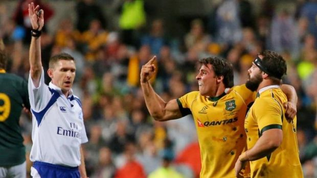 Under fire: Referee George Clancy made some controversial decisions during the Wallabies' match against the Springboks.