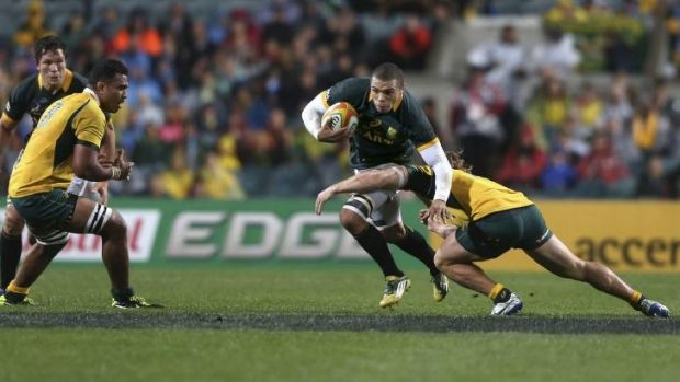 Centurion: Bryan Habana tries to break the Wallabies' line during his hundreth Test match on Saturday.